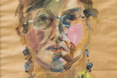 Self Portrait with dark short hair - 2006 - acrylic on brown paper