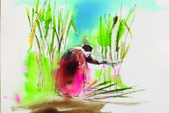 the sugarcane gatherer 1 - 2009 - ink and watercolour on paper SOLD