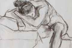 Woman resting - charcoal on paper