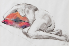 Dorothy reclining 2 - 2010 - charcoal and pastel on paper