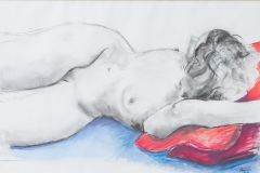 Woman reclining - 2010 - charcoal and pastel on paper