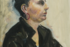 Woman in a Leather Jacket - oil on canvas