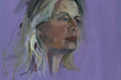 Woman with long blonde hair - oil on canvas