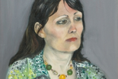 Woman with the Large Beaded Necklace - oil on canvas