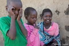 Maasai children with Mother